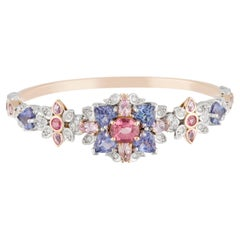 Pink Spinels, Tanzanites Pink Sapphire and Diamond Art Deco Floral Bangle