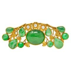 Arts & Crafts Jadeite Jade Diamond 14 Karat Yellow Gold Brooch GIA