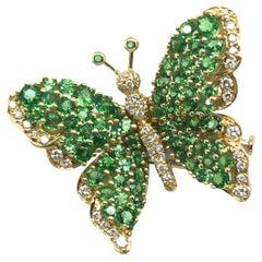 18 Karat Gold Tsavorite Diamond Butterfly Brooch by Tiffany & Co., 1989