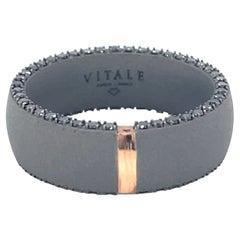 Men's Titanium Round Black Diamond Band Ring