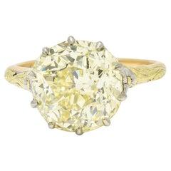 Arts & Crafts 7.12 Carats Fancy Yellow Diamond 14 Karat Tri-Colored Gold Ring