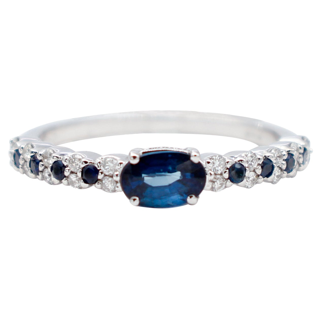 Blue Sapphires, Diamonds, 18 Karat White Gold Modern Ring