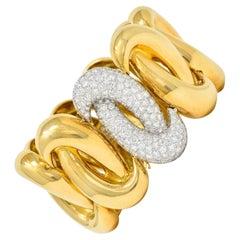 Charles Turi Vintage 7.50 Carats Pave Diamond 18 Karat Two-Tone Linked Bracelet