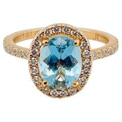 18 Karat Rose Gold 1.61 Carat Aquamarine Solitaire Ring