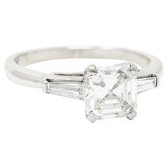 1950's Mid-Century 1.24 Carats Asscher Diamond Platinum Engagement Ring GIA