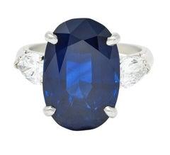 Vintage 11.70 Carats No Heat Sapphire Diamond Platinum Statement Ring AGL