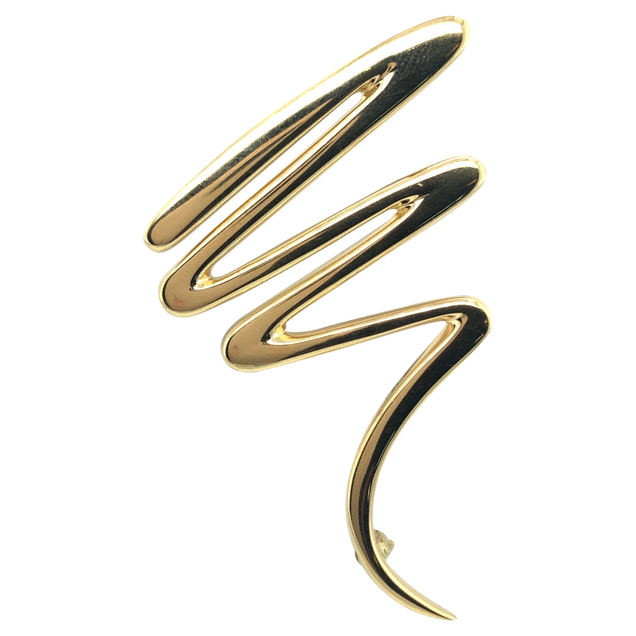 18 Karat Yellow Gold Scribble Brooch by Paloma Picasso for Tiffany & Co., 1983