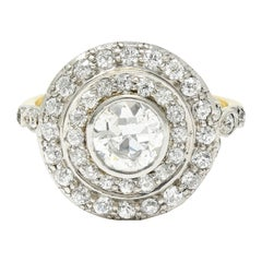 Art Deco 2.56 Carats Diamond Platinum-Topped 14 Karat Gold Cluster Ring GIA