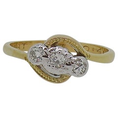 Cross Over Diamond Three-Stone Ring 18 Karat Yellow & White Gold