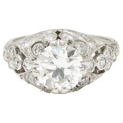 Edwardian 2.33 Carats Diamond Platinum Engagement Ring Circa 1910