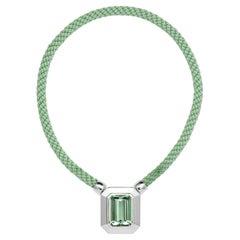 18 Karat White Gold 49.19 Carat Green Beryl Necklace