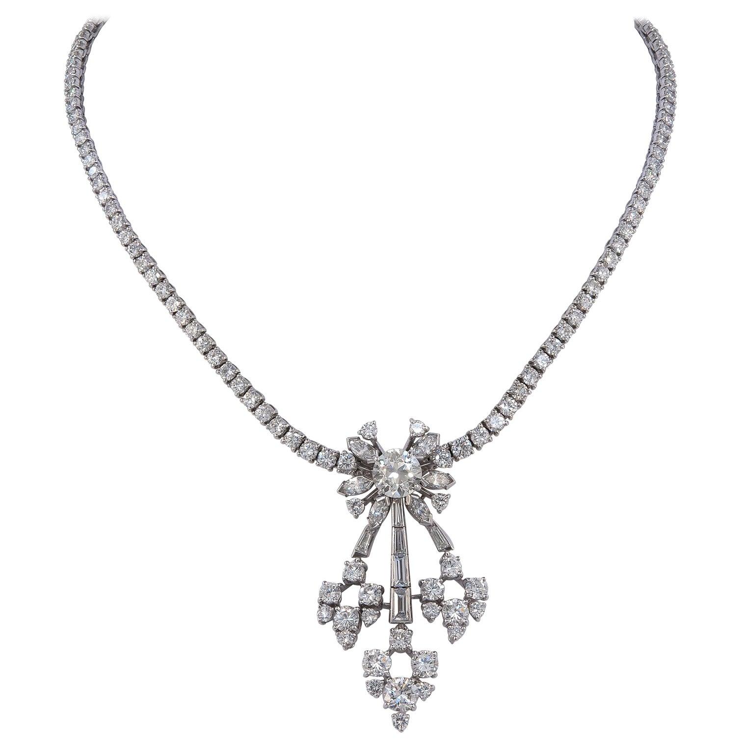 Vintage Diamond Platinum Necklace