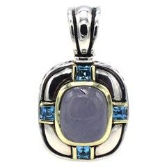 David Yurman Albion Chalcedony & Blue Topaz Silver & Gold Enhancer Pendant