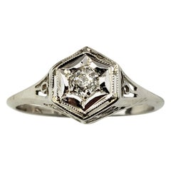 10 Karat White Gold and Diamond Ring