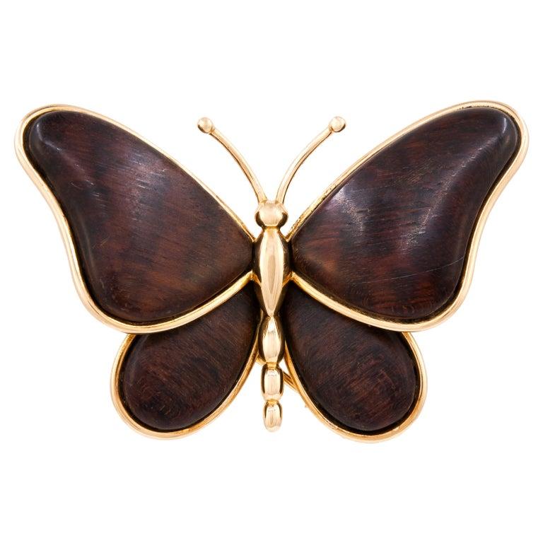 Van Cleef & Arpels Wood Butterfly Brooch For Sale