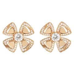 Bvlgari Rose Gold Diamond Fiorever Earrings 356280