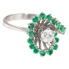 Emerald Diamond Cocktail Ring Vintage 14k White Gold Estate Fine Jewelry