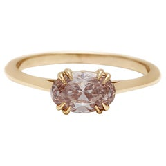 Anna Sheffield 14k Yellow Gold Champagne Diamond Bea East/West Solitaire Ring