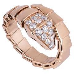Bvlgari Rose Gold Diamond Serpenti Ring