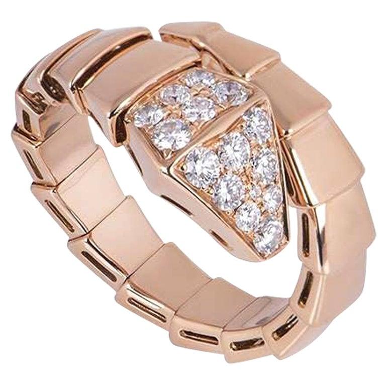 Bvlgari Rose Gold Diamond Serpenti Ring For Sale