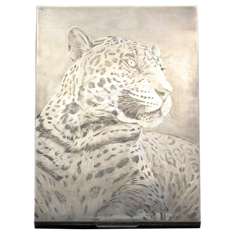 M. Buccellati Panther Hand Etched Sterling Silver Box For Sale