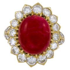 Van Cleef & Arpels Cabochon Ruby Diamond Ring
