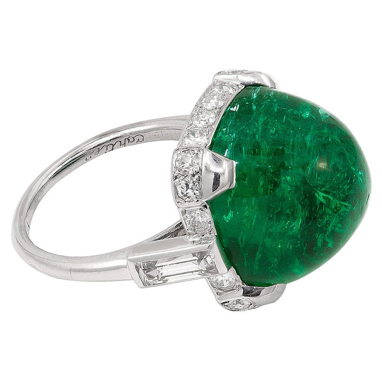 Cartier Sugar Loaf Emerald Ring For Sale