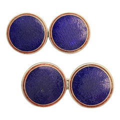 Deakin and Francis Paul Stuart Sterling Silver Red and Blue Enamel Round Cufflin