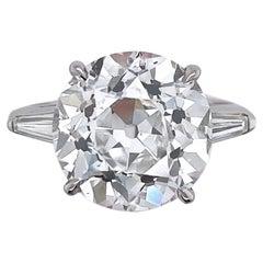 7.22 Carat Old European Brilliant Cut Diamond Ring GIA Certified