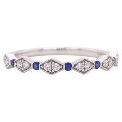 Diamond Sapphire Band, White Gold Wedding Ring, Stackable Band 15 Gemstones