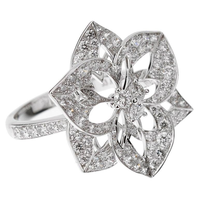 Boucheron Large Flower Diamond White Gold Cocktail Ring