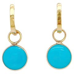 Huggie Earrings, w Turquoise Charm, 18k Persian Turquoise Earrings 2.75 Carats