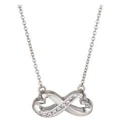 Tiffany & Co. Double Diamond Heart Necklace Paloma Picasso 18k White Gold