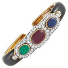 David Webb 18K Yellow Gold 1.50 Ct Diamond, Ruby, Sapphire and Enamel Bracelet