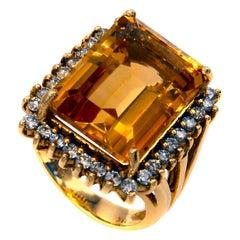 1960s Golden Citrine Diamond 18 Karat Gold Ring