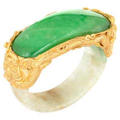 Jade Bridge Ring Vintage 22k Yellow Gold Dragon Estate Fine Jewelry