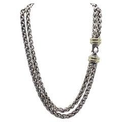 David Yurman Double Wheat Chain Sterling Silver & 14k Yellow Gold Necklace