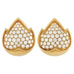 Van Cleef & Arpels Vintage 18K Yellow Gold 4.50 Ct Diamond Clip-On Earrings