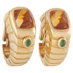 Van Cleef & Arpels 18K Yellow Gold Citrine and Peridot Earrings