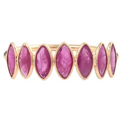 Seven Ruby Marquise Shape Ring Band, 18k Yellow Gold