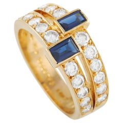 Van Cleef & Arpels 18K Yellow Gold 1.00 Ct Diamond and Sapphire Ring