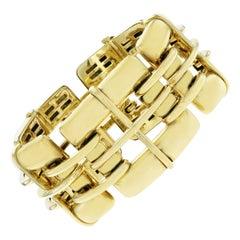 Tiffany & Co, 18K Yellow Gold Biscayne Wide Link Bracelet
