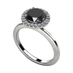 2.28 Carat Round Black Diamond Halo Cocktail Ring in Silver