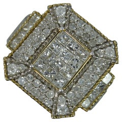 Large 2.00ct Diamond 9ct Gold Cluster Bling Ring