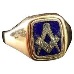 Vintage 9 Karat Yellow Gold Masonic Swivel Ring, Signet, Blue Enamel
