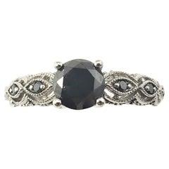10 Karat White Gold Black Diamond Ring