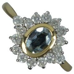 Classic Aquamarine & 0.48ct Diamond 9ct Gold Cluster Ring