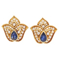 Estate Harry Winston Blue Sapphire and Diamond Clip On Earrings in 18k Yellow