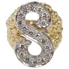 """Vintage 1970's 14k Yellow Gold Nugget Diamond Initial """"S"""" Ring"""