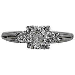 Art Deco 1.04 Carat Diamond Platinum Engagement Ring